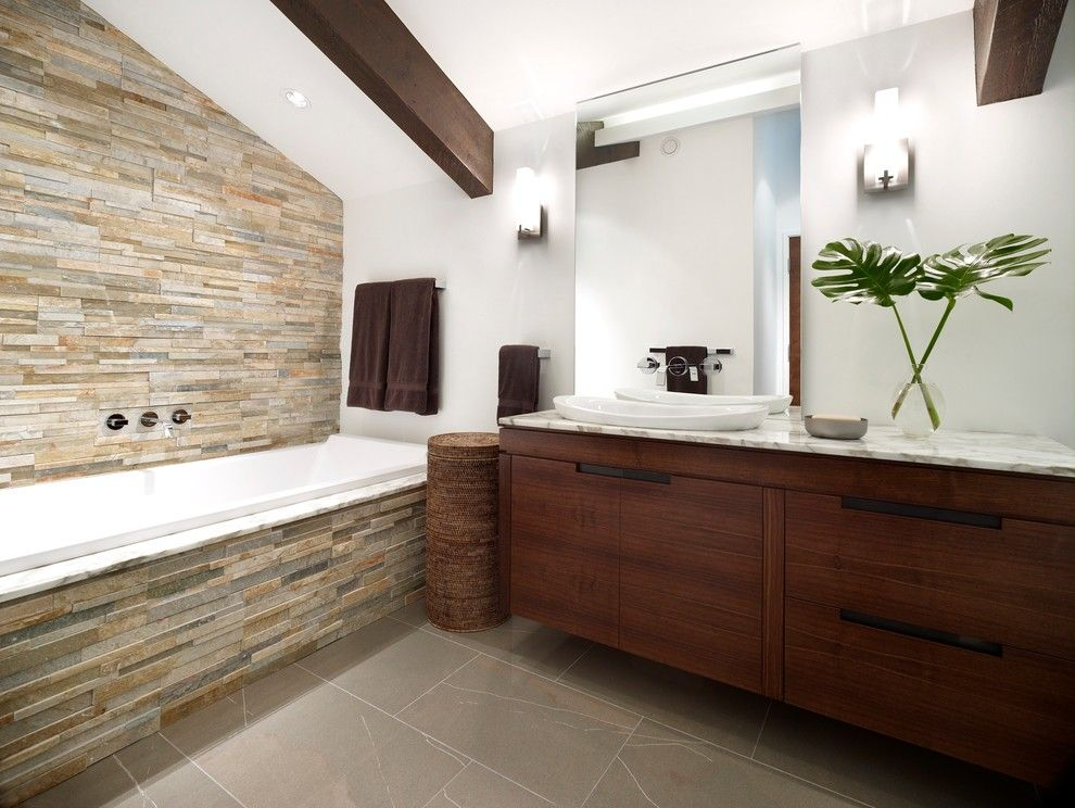 Stacked Stone Tile Bathroom Contemporary With Brown Towels Dark Wood