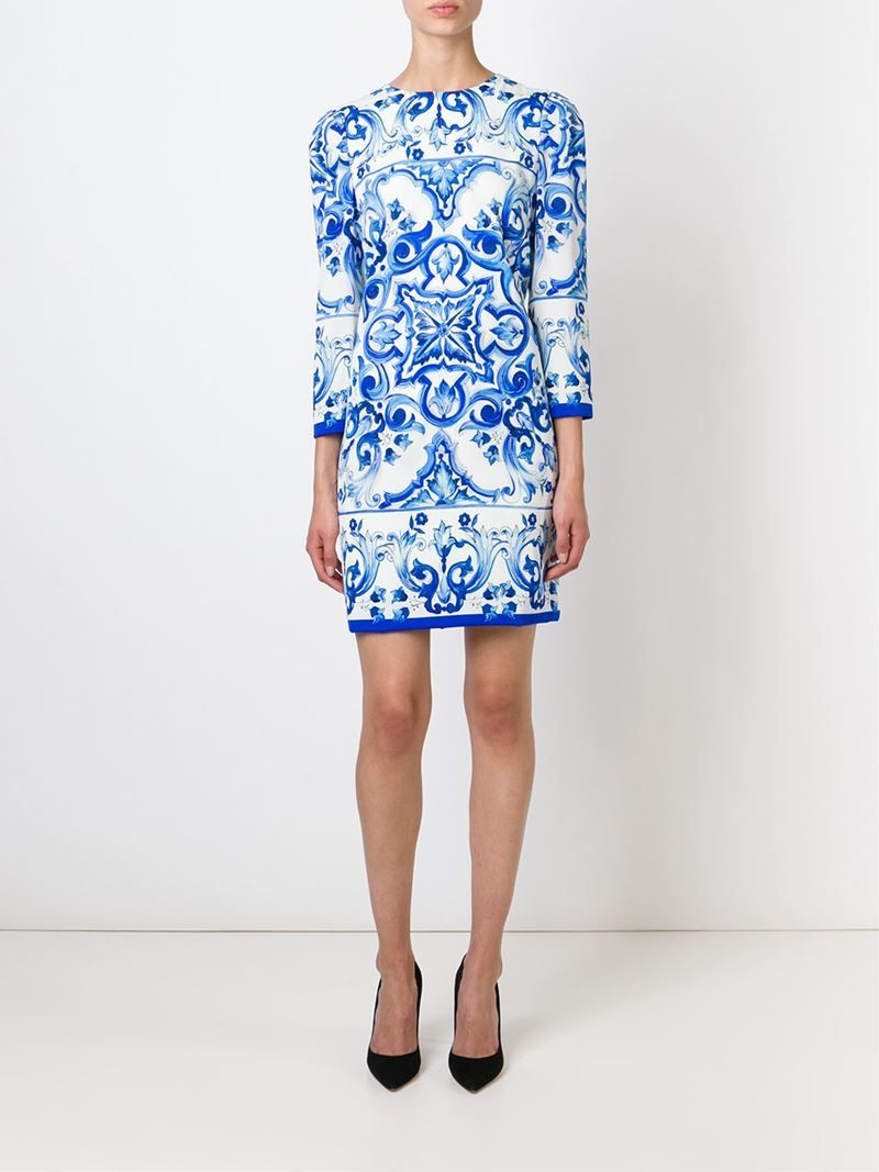 9f28013d439 Dolce   gabbana Majolica Tile-Print Dress in Blue (white)