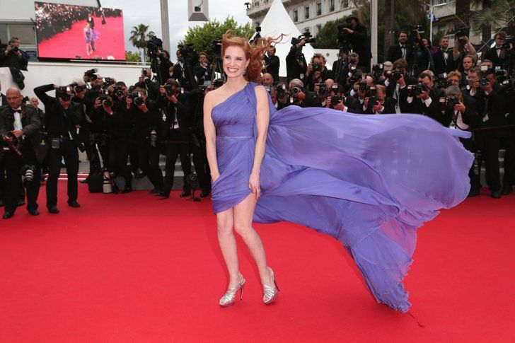 Pin For Later The Most Stunning Snaps From Cannes Jessica Chastains Elie Saab Gown Got Caught In The Wind Making For A Gorgeous Snap