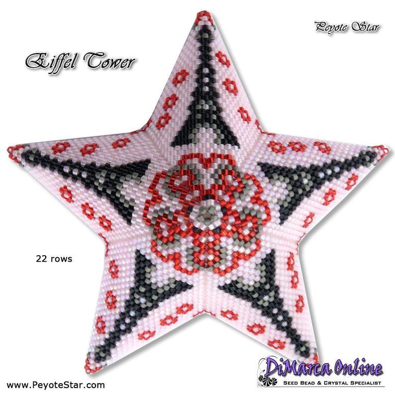 3D Peyote Star Beading Pattern EIFFEL TOWER with Basic Instructions Tutorial #eiffeltower