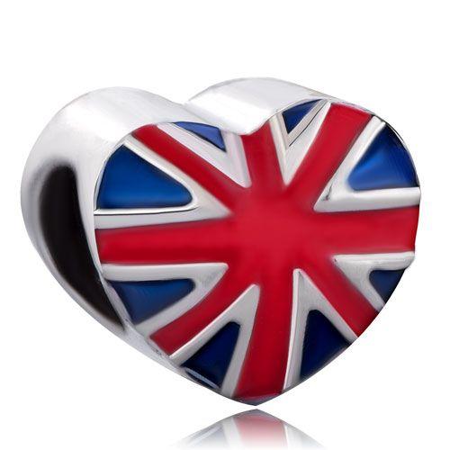 Heart Charm Bracelet Blue Red Drip England Patriotic Flag