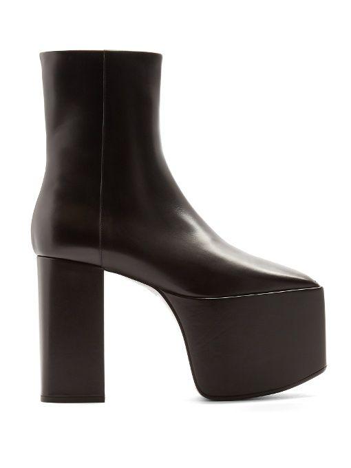 4ab8745a90aa BALENCIAGA Square-Toe Platform Leather Ankle Boots.  balenciaga  shoes   boots
