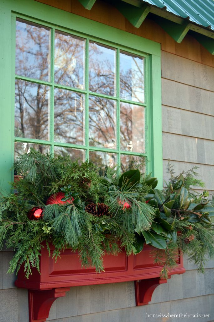 Potting Shed Window Boxes decorated for Christmas