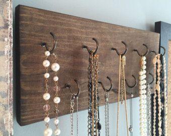 15 Hook Wood Necklace Holder Jewelry Organizer Wall Hanging Necklace Organizer Jewelry Holder Accessory Organizer Jewelry Box Storage With Images Jewelry Hanger Jewelry Organizer Wall Diy Holder
