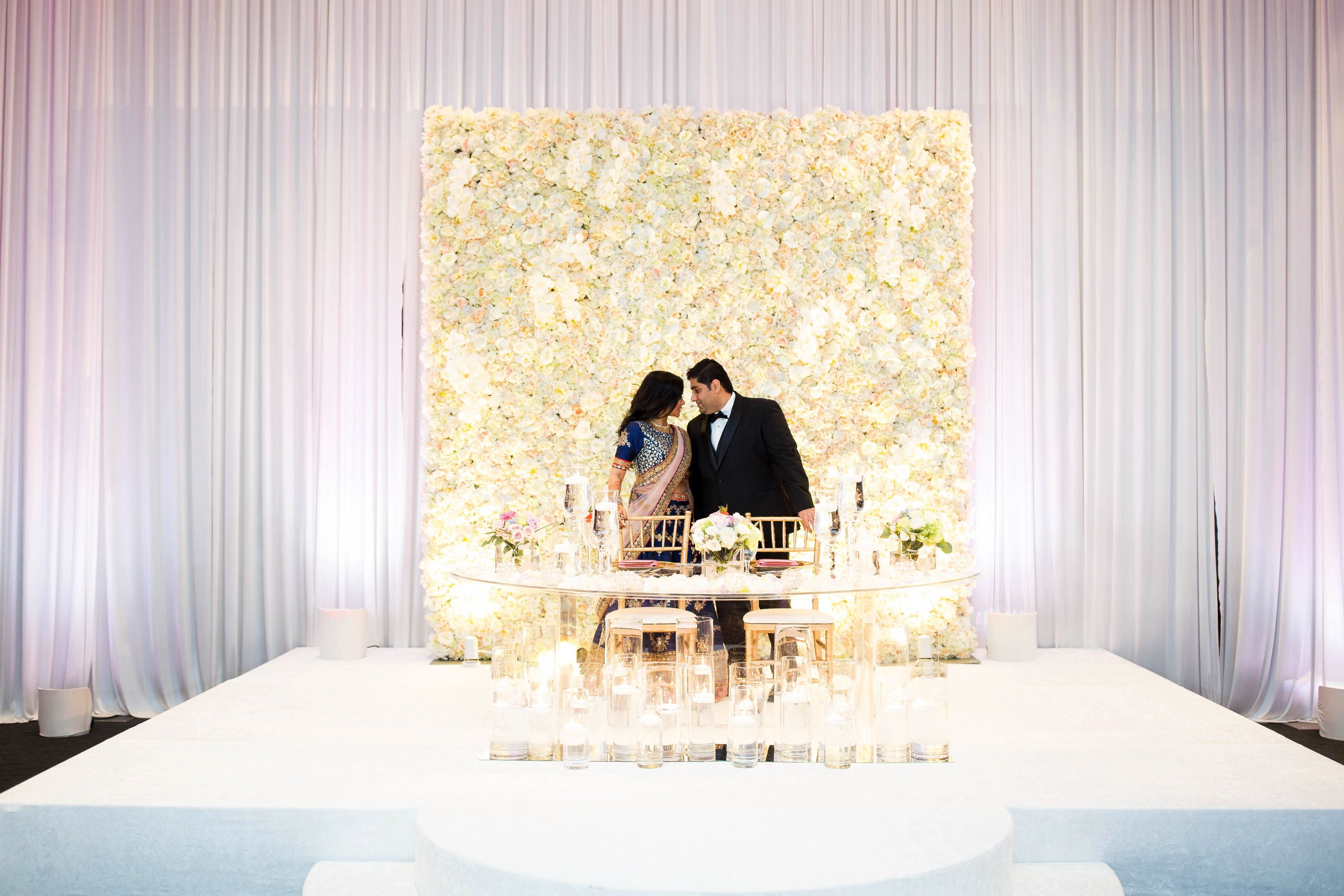 Bridal Stage Ivory Floral Backdrop And Ivory Drapery