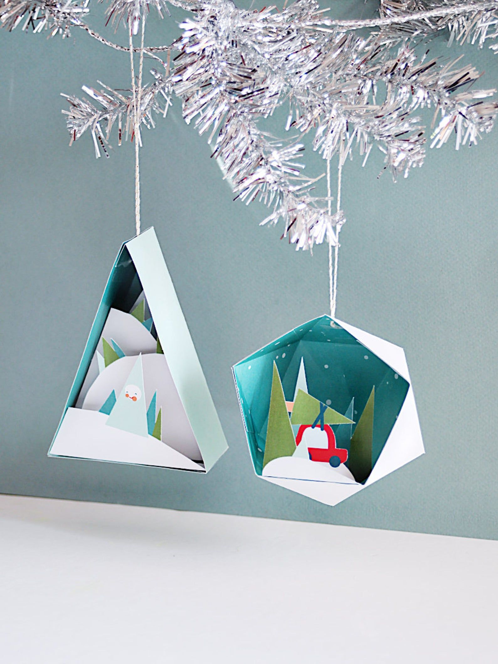 3d Christmas Ornaments 2 4 In A Set Printable Paper Crafts Holiday Diy Paper Christmas Ornaments Christmas Paper Crafts Christmas Ornament Crafts