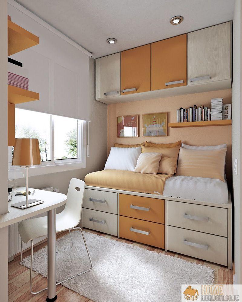 Beautiful Retro Orange White Small Bedroom Idea