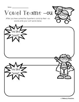 Superheroes: Superheroes Card Sort and Worksheet (-ou