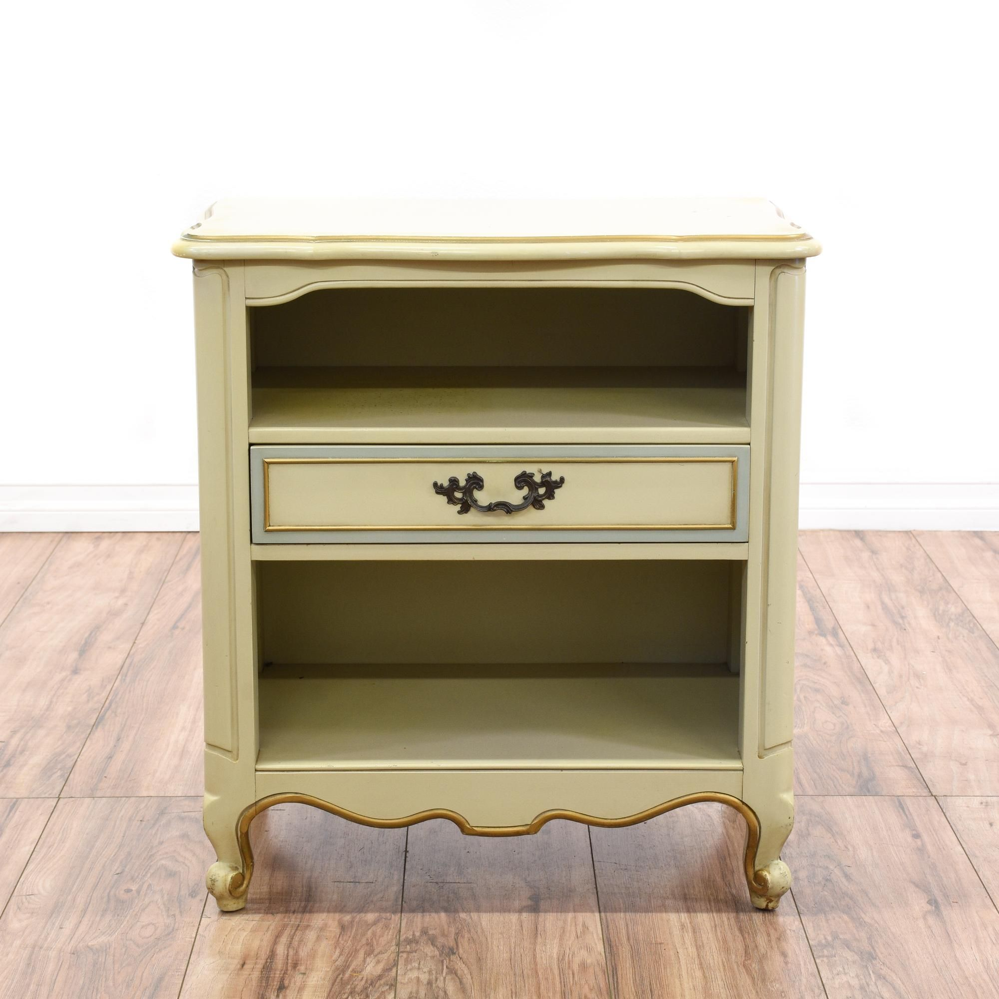 """""""Drexel"""" Cream & Blue French Provincial Nightstand Wood"""