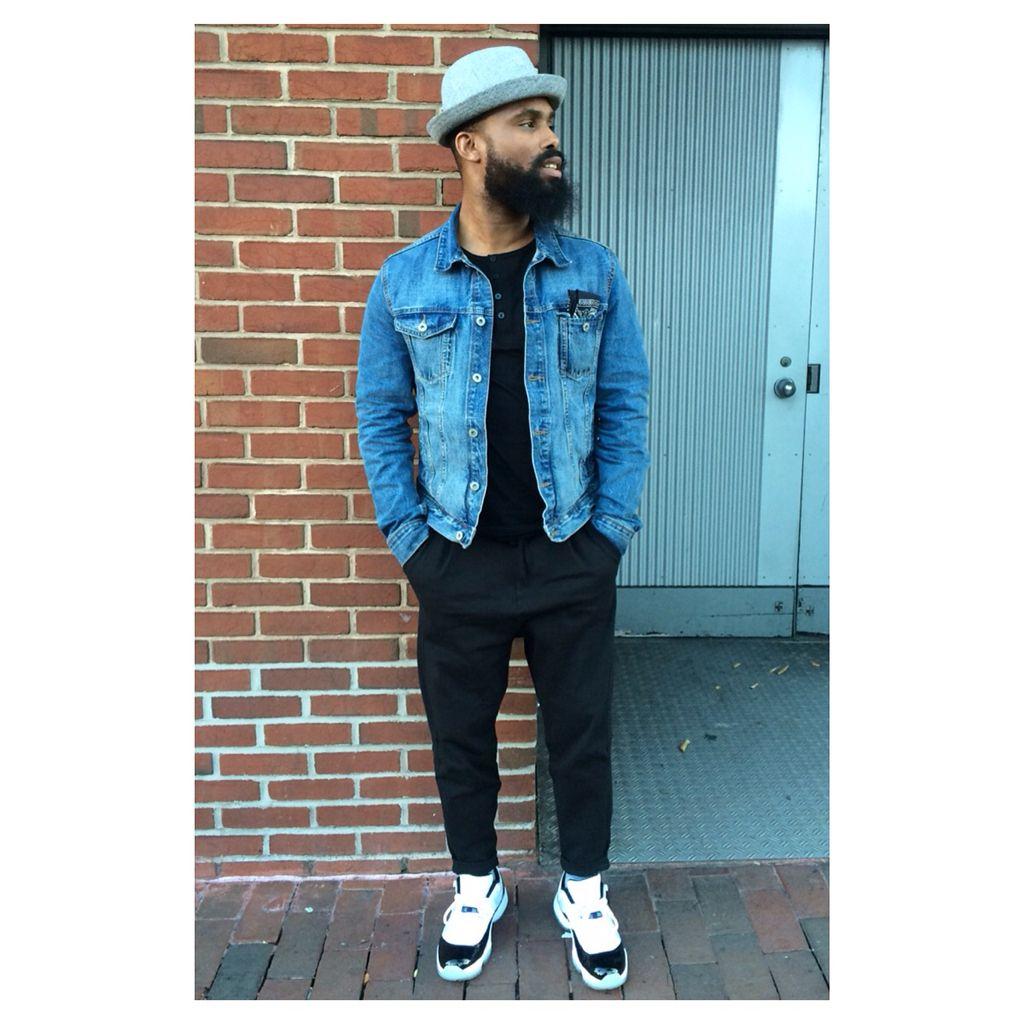 23292e45d36013 Hat  h m Demin Jacket  h m T-shirt  psycho bunny Pants  Joe s jeans Shoes  Jordan  retro 11 low