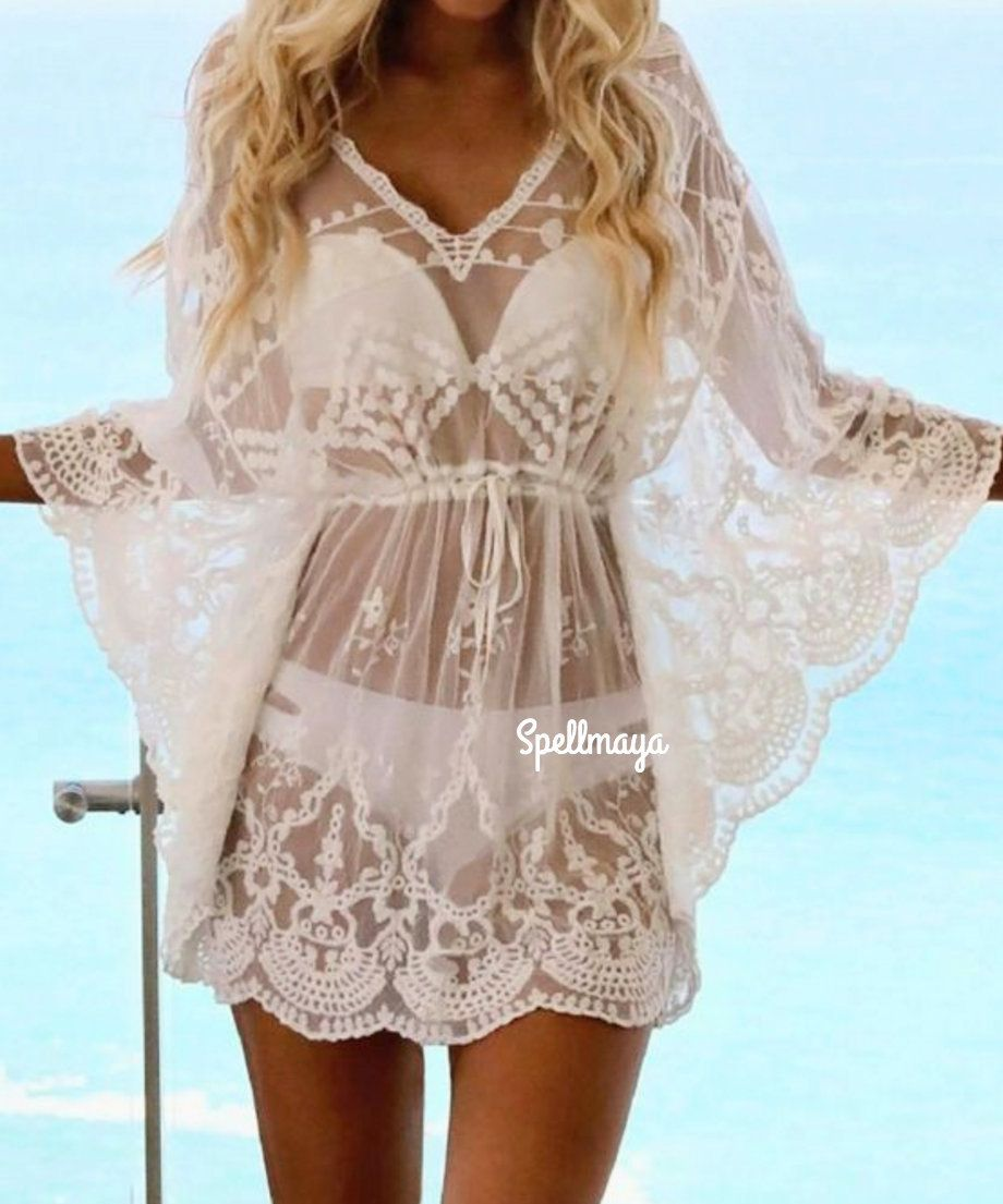 Women/'s Boho Short Mini Summer Beach Dress Swimwear Cover Up  AU Size 8-10