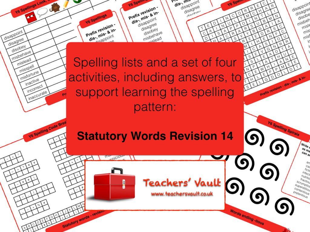 Y6 Spelling Activities Pack