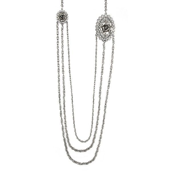 The new formal. This strand necklace from our Signature 1928 Collection, crafted from silver-tone mixed metal, proves to be quite stunning with glass crystals and jet-colored flower details adding an elegant touch.