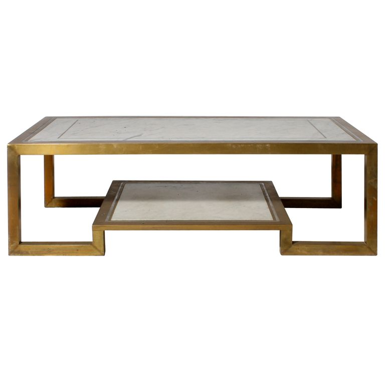 Marble Coffee Table Industrial: Bronze And Marble Coffee Table With Two Shelves