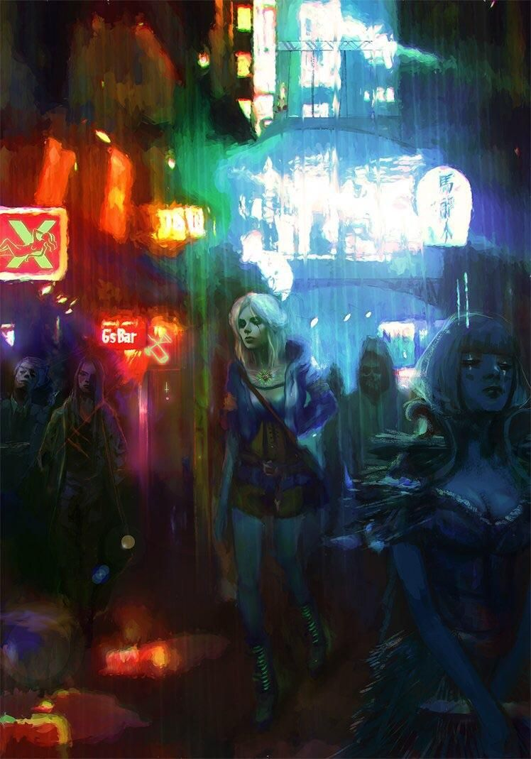 Ciri Roaming The Streets Of Night City Cyberpunk 2077 Fan Art By Outstarwalker Cyberpunk 2077 Cyberpunk Art