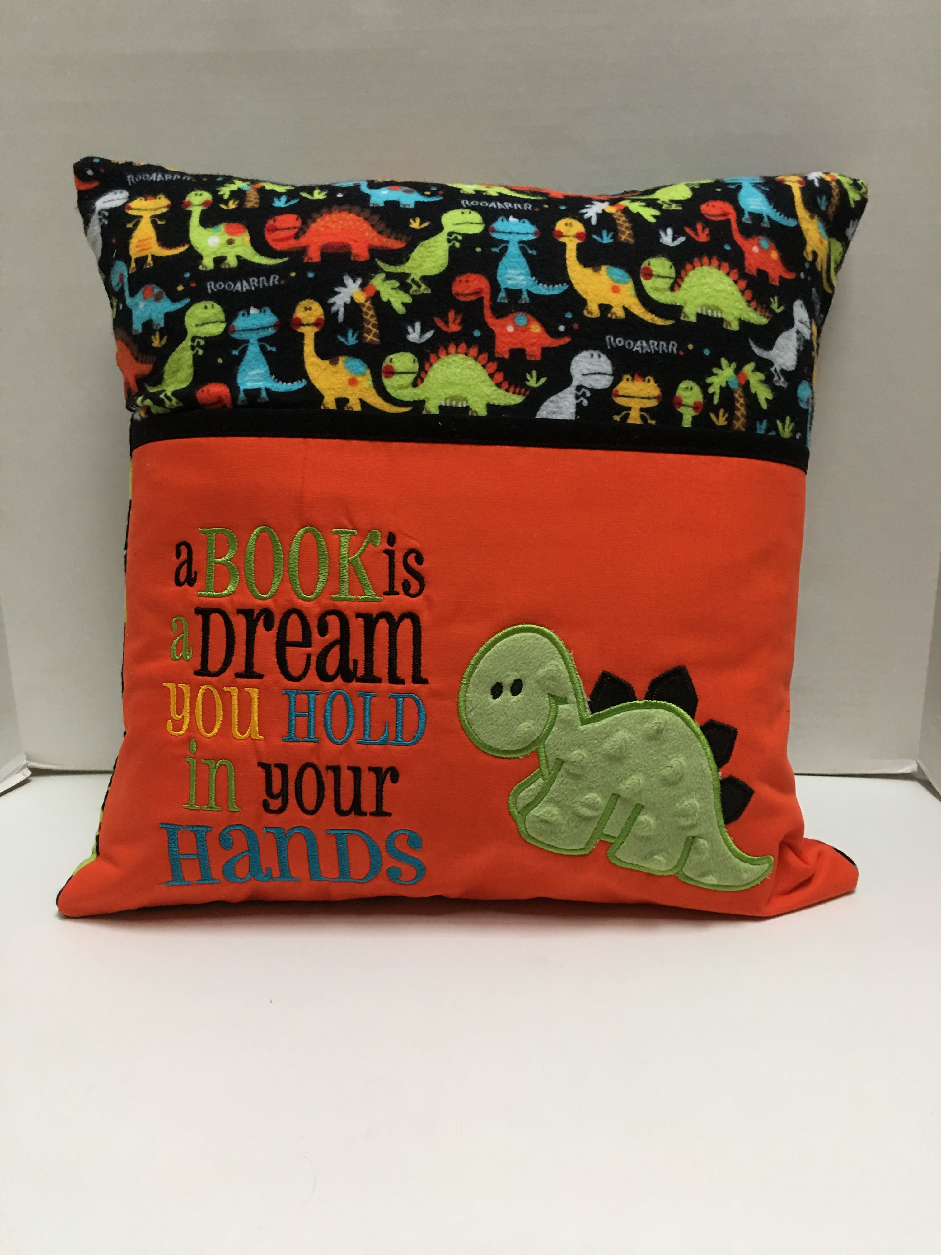 reading pillow machine embroidery