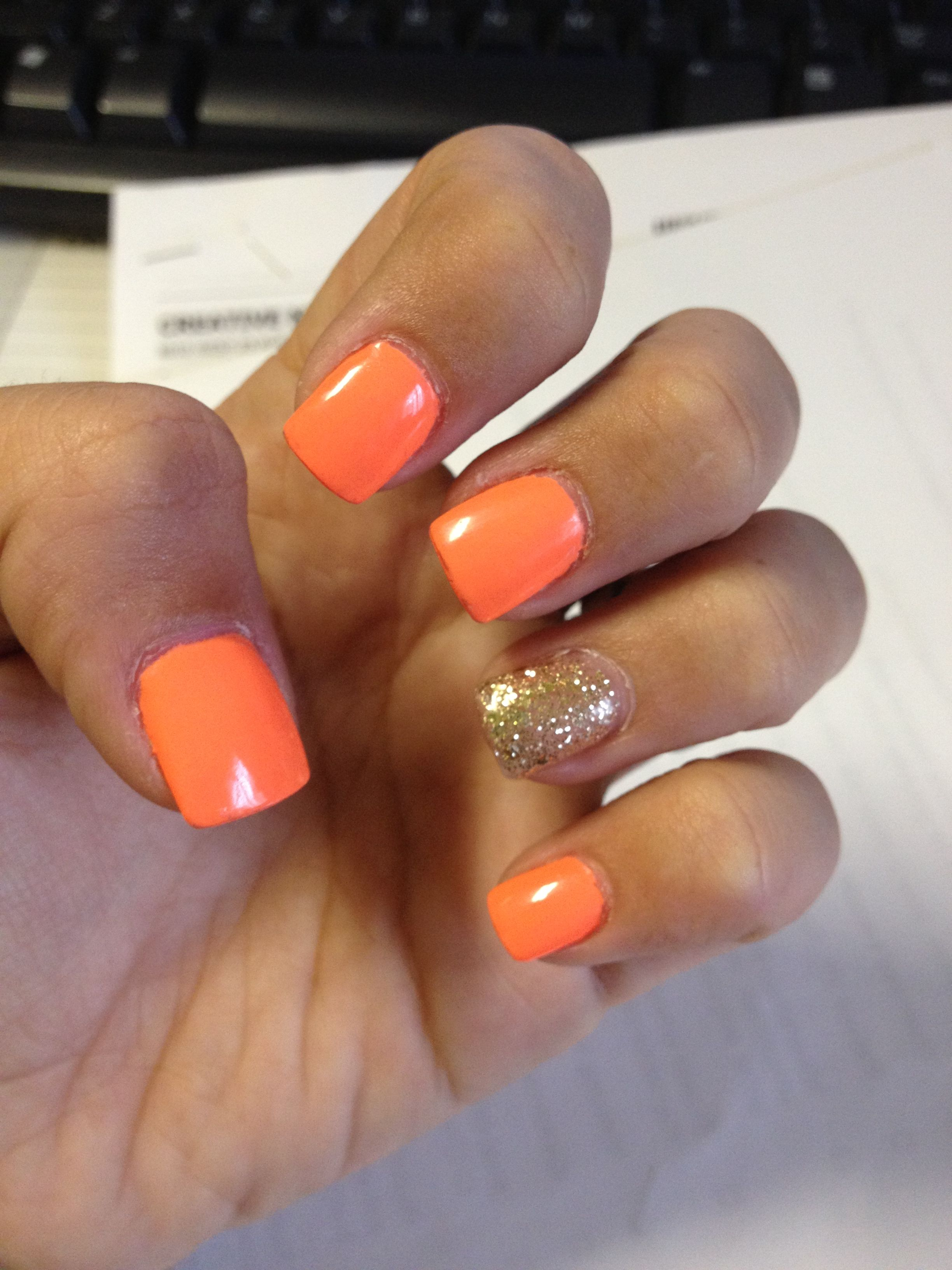 Neon Orange With Gold Glitter Gel Nails Nail Icious Pinterest