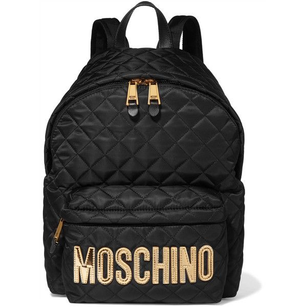 Moschino Appliquéd quilted shell backpack (7.015 ARS) ❤ liked on Polyvore  featuring bags 9accf9de81c3c
