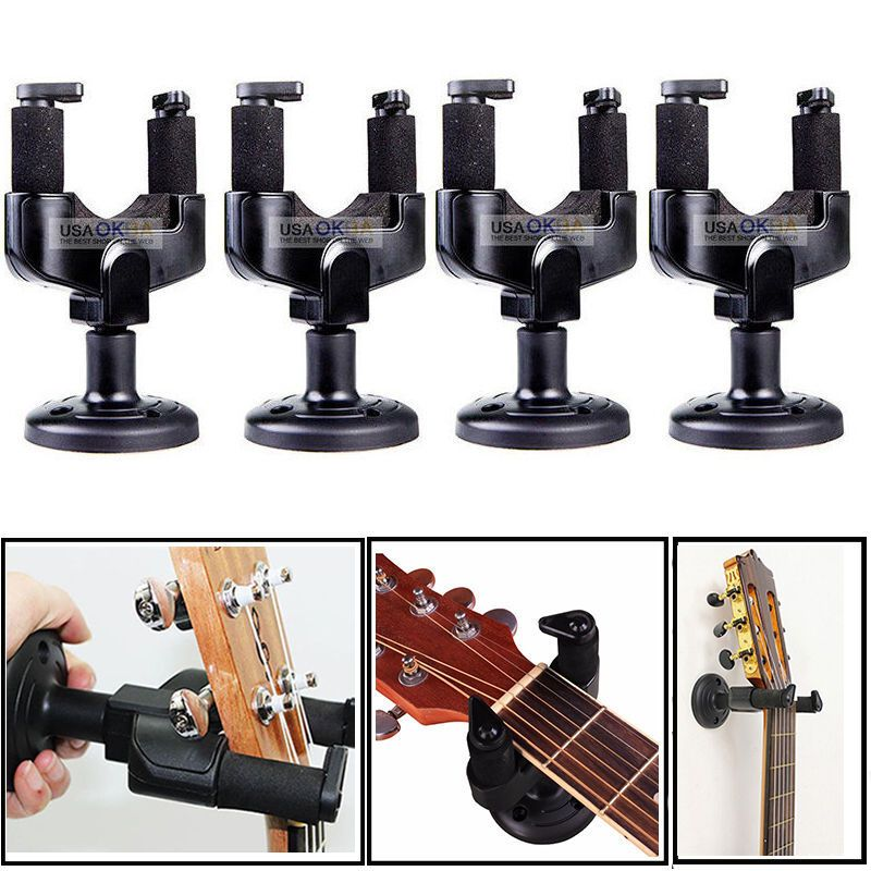 Details About 4x Guitar Wall Mount Hanger Stand Holder Hooks Display Acoustic Electric Bass Guitar Wall Hanger Stand Acoustic Electric