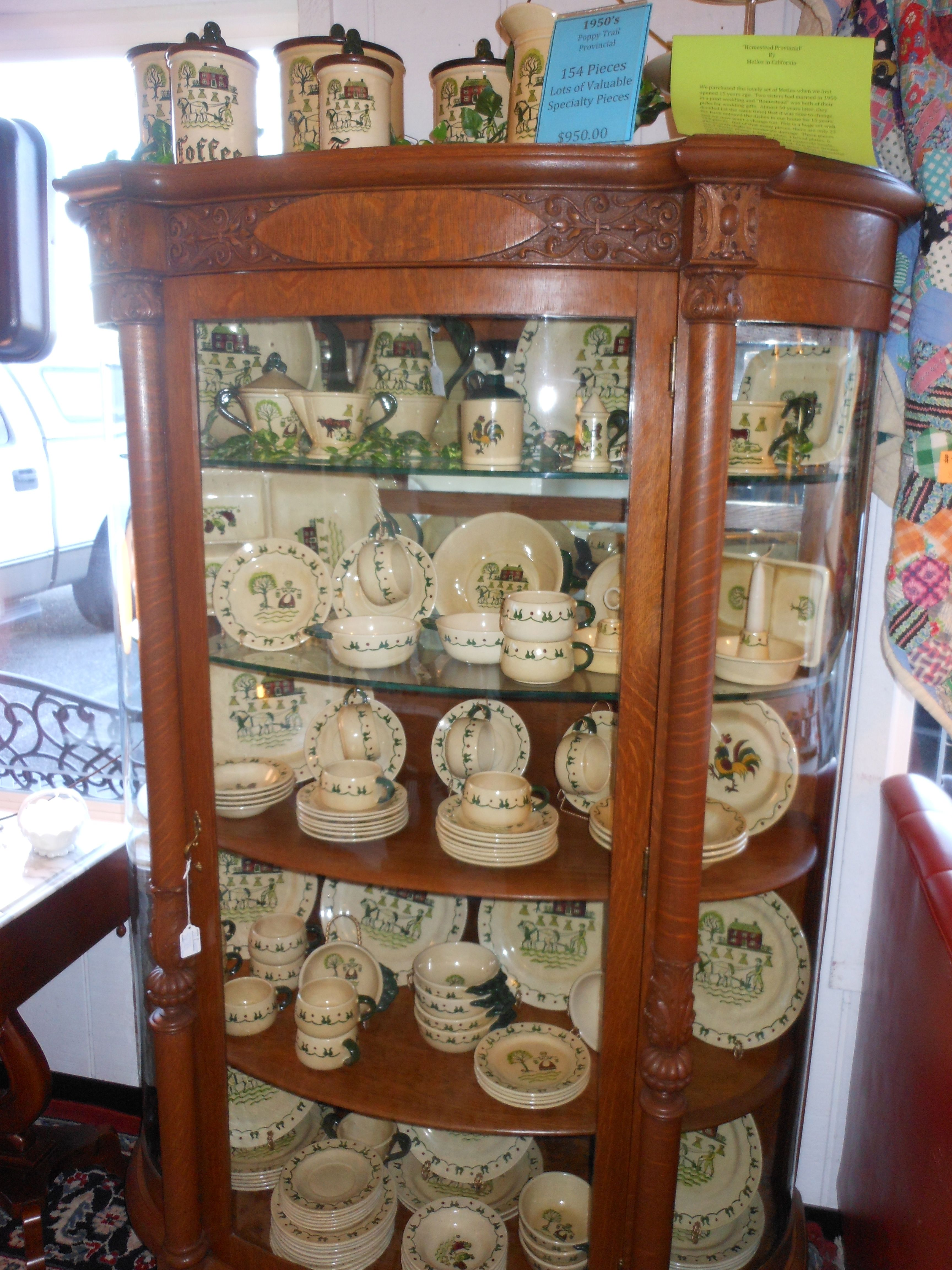 Circa 1900 S Victorian Tiger Oak Bow Front Claw Foot China Cabinet This Stands At 67 Tall And Is 46 Wide It Contains Two Gl Wood