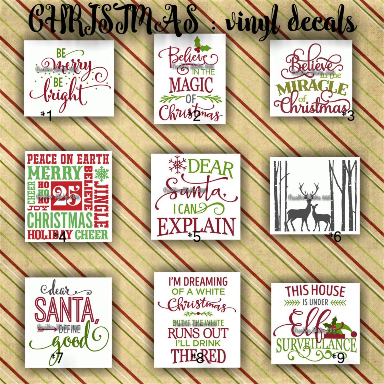 CHRISTMAS Vinyl Decals Christmas Decoration Decal Sticker - Custom vinyl decals for crafts