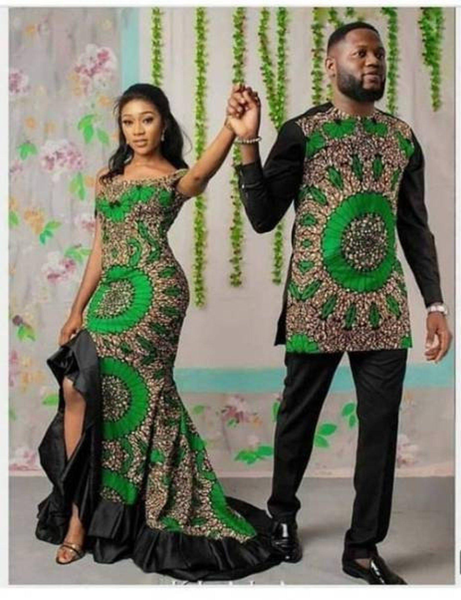 African wedding dress, African Couple dress, Afric