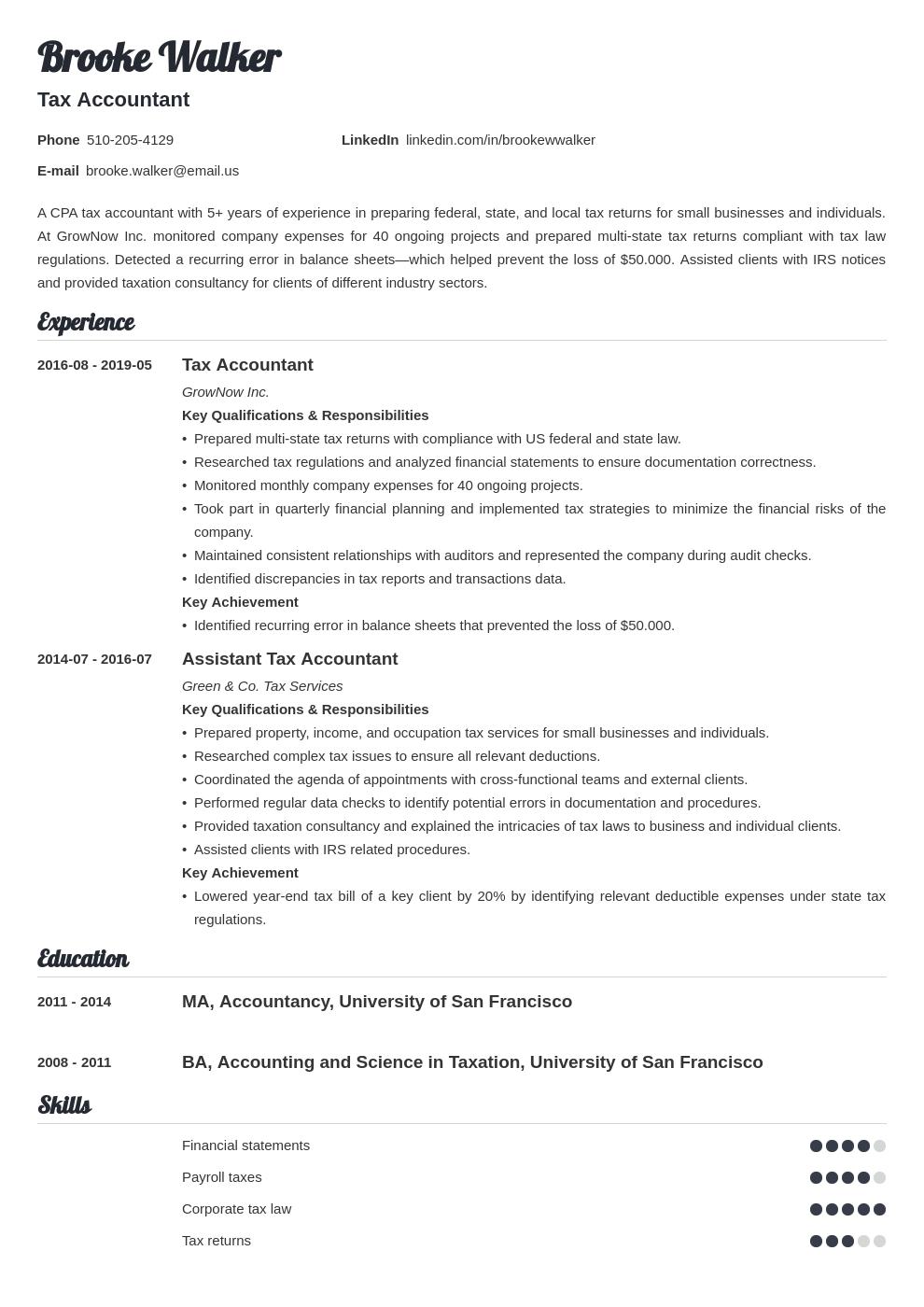 Tax Accountant Resume Example Template Valera In 2020 Accountant Resume Resume Examples Job Resume Examples