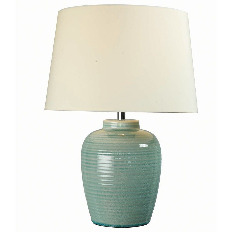 Blue Ceramic Base Table Lamp White Shade Living Room Bedroom Lighting Decoration