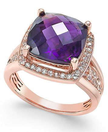 Amethyst (7 ct. t.w.) and White Topaz (2/5 ct. t.w.) Ring in 14K Rose Gold-Plated Sterling Silver | macys.com