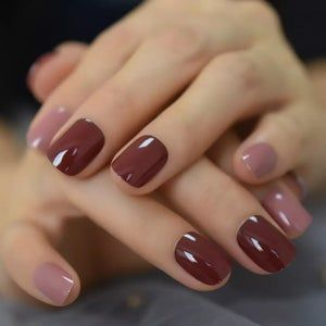 mix color nail short squoval dark red petie fake nails