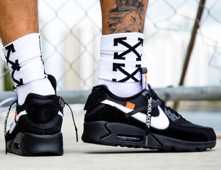 new style 02db0 7a871 Off White x Nike Air Max 90 V2 All Black Sneaker Men's ...