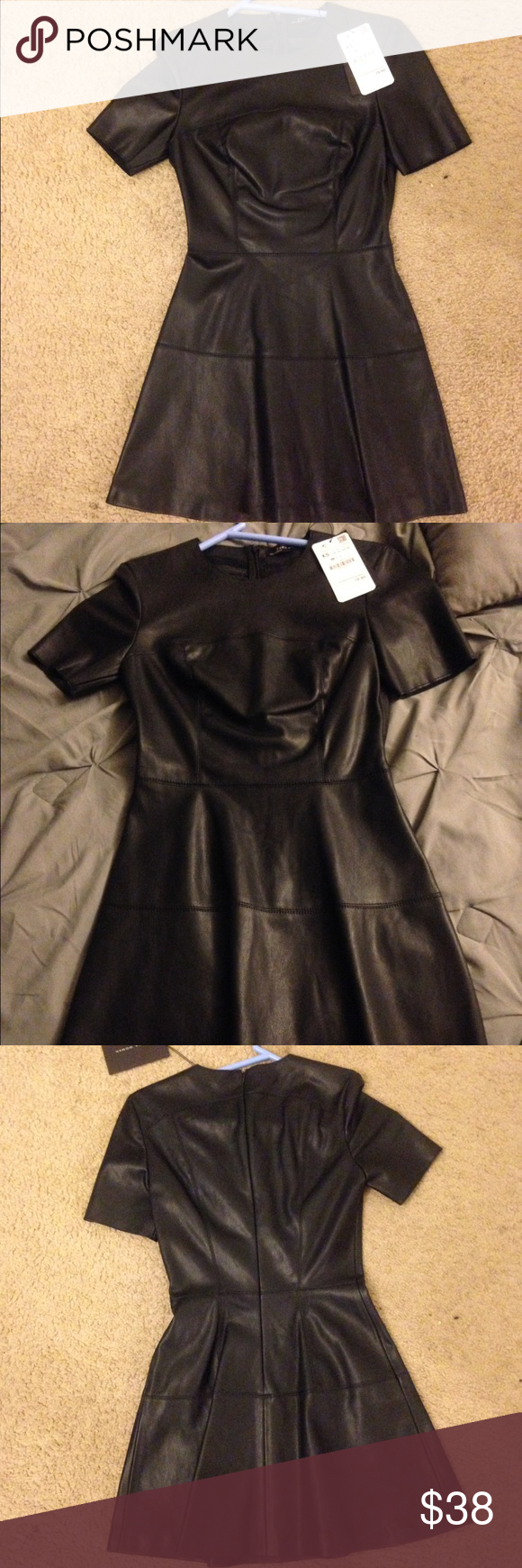 Zara leather dress Zara xs leather black skater dress. Never worn bought new but couldn't fit. No returns. Zara Dresses