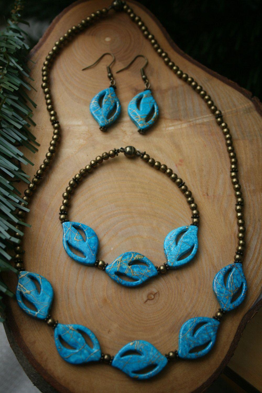 Turquoise blue necklace bracelet u earrings set flat acrylic gold