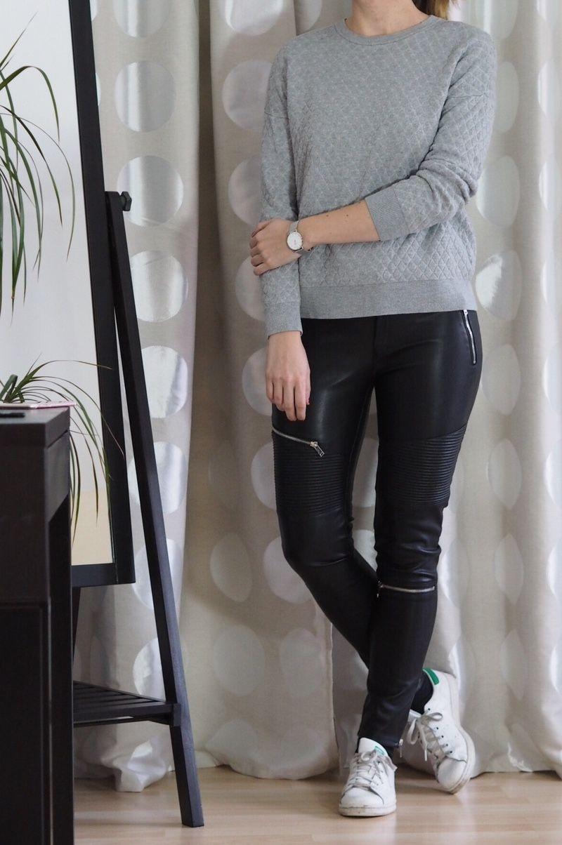 Zara Lederhose grauer Pullover Winter Outfit 2016