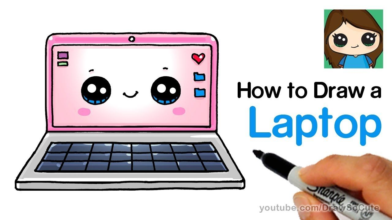 How To Draw A Laptop Computer Easy And Cute Computer Drawing Cute Drawings Cute Kawaii Drawings
