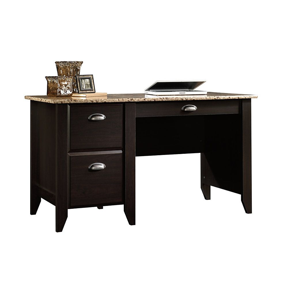 Sauder shoal creek executive desk in jamocha wood - Sauder Samber Desk 29 12 H X 53 18 W X 23 12 D Granite Jamocha Wood By Office Depot