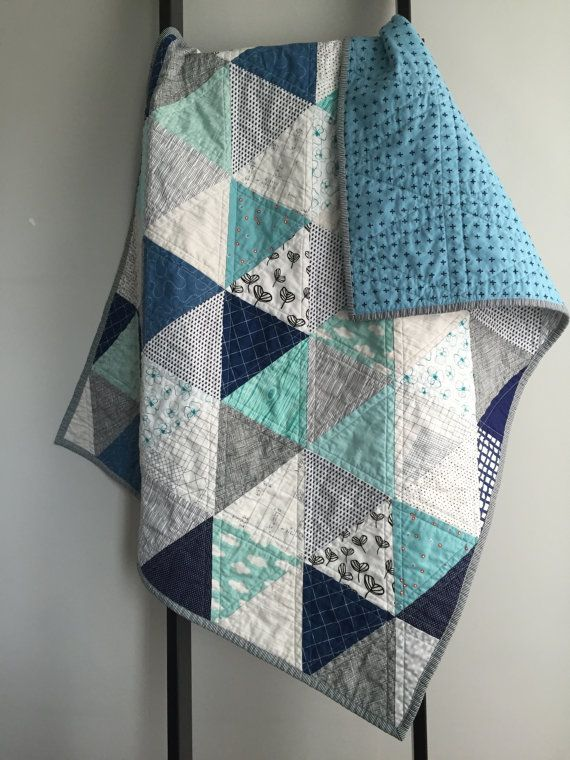 Modern Baby Quilt Grey Aqua White And Navy Triangles