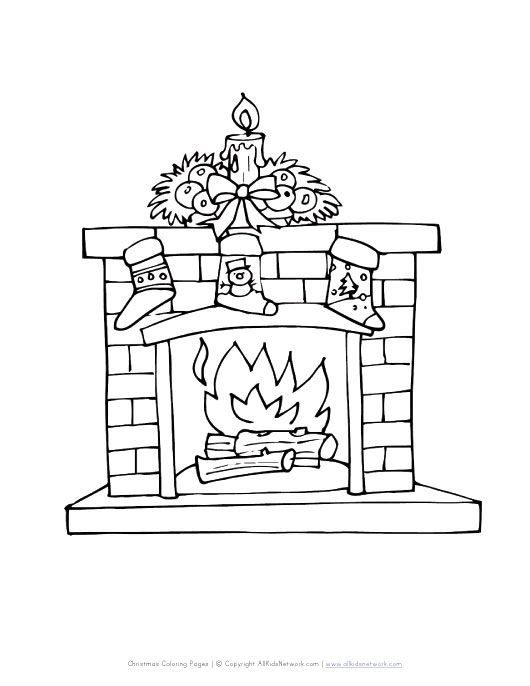 Fireplace With Stockings Coloring Page Christmas Coloring Pages