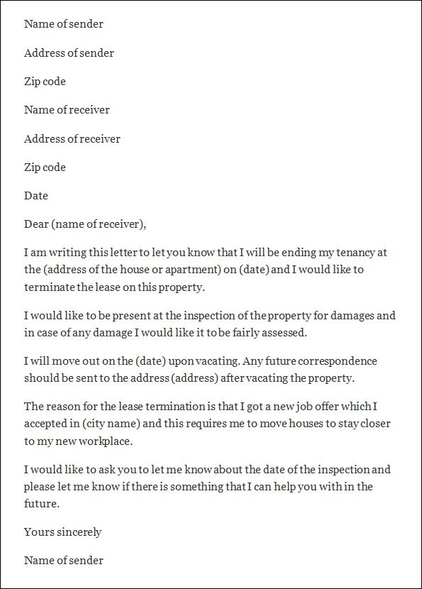 termination letter template and sample rental templates free - sample lease termination letter