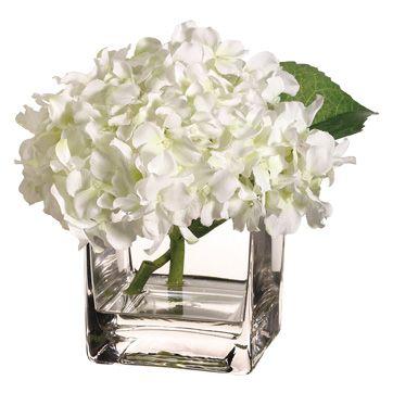 My kitchen table centerpiece fake white hydrangea in a square glass my kitchen table centerpiece fake white hydrangea in a square glass vase filled with mightylinksfo