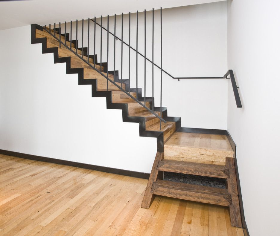How To Install Heart Pine Stair Treads : Exciting Image Of Home Interior  Stair Design Using Black Iron Transparent Staircase Railing Including  Rustic Heart ...