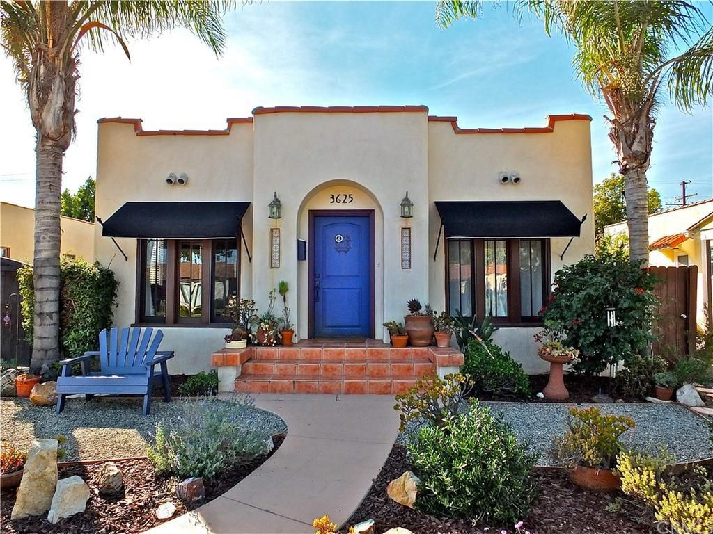 Spanish Bungalow Blue Awnings Google Search Spanish Bungalow Bungalow Exterior House Exterior