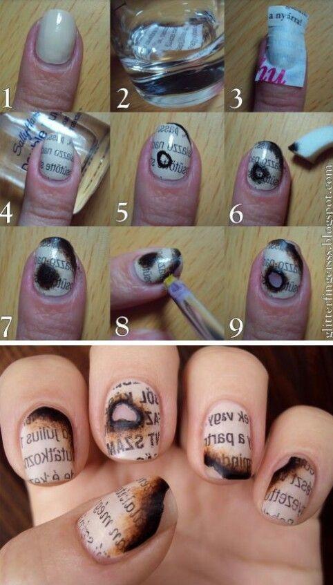 Burned Nails Using Newspaper A Q Tip Rubbing Alcohol And Nail Polish Remover