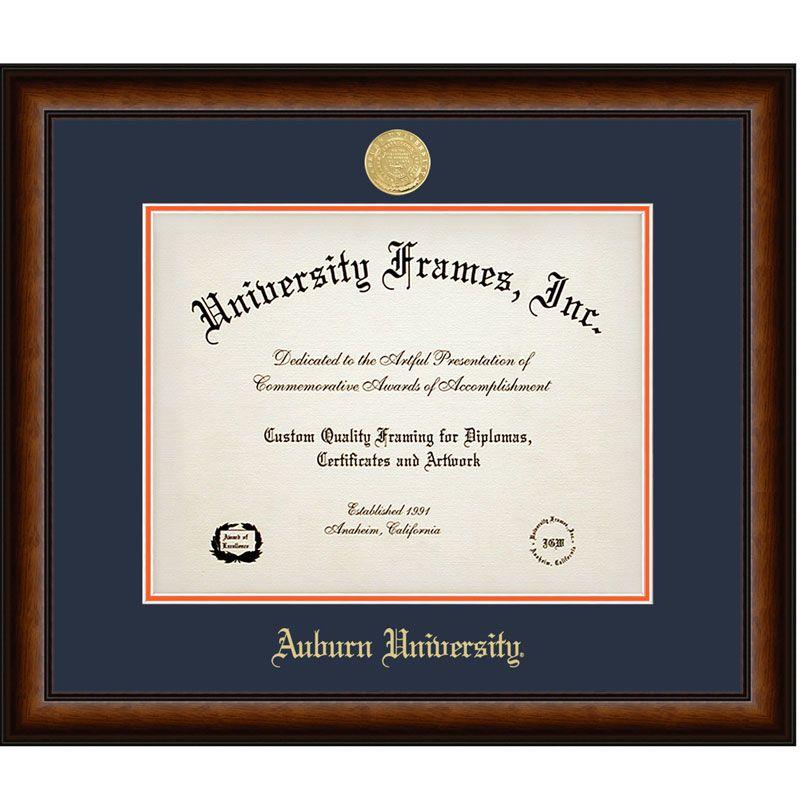 Diploma Frame, Satin Walnut W/ Gold Medallion | Alumni Corner ...
