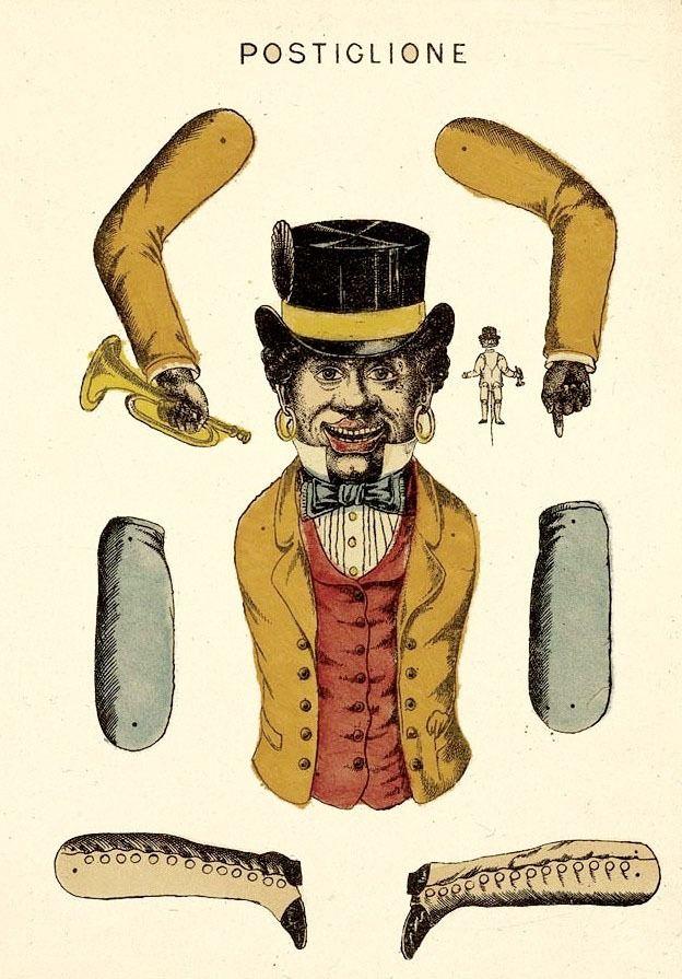 'Postiglione (postman)' - Vintage Italian Papercraft Jumping Jack
