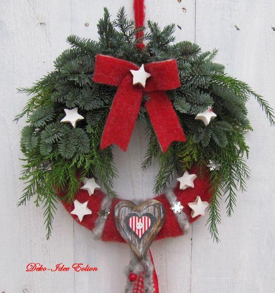 t rkranz filz und tanne von deko idee eolion auf weihnachten pinterest. Black Bedroom Furniture Sets. Home Design Ideas