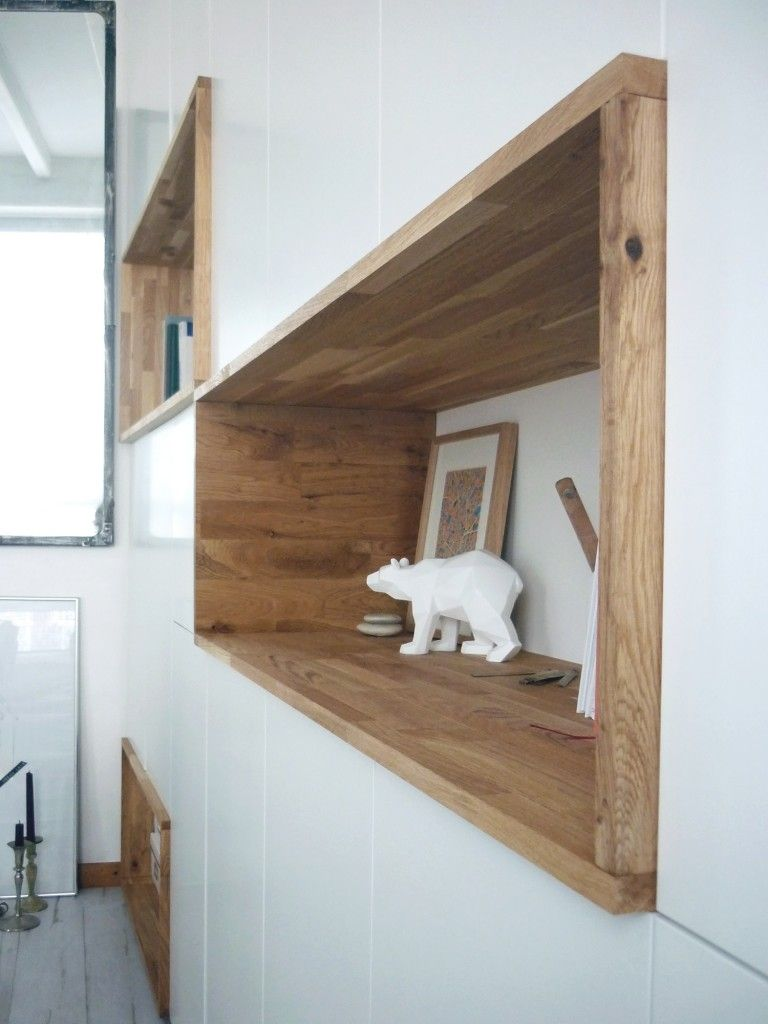 Mur rangements blanc bois scandinave | design, décoration, intérieur ...