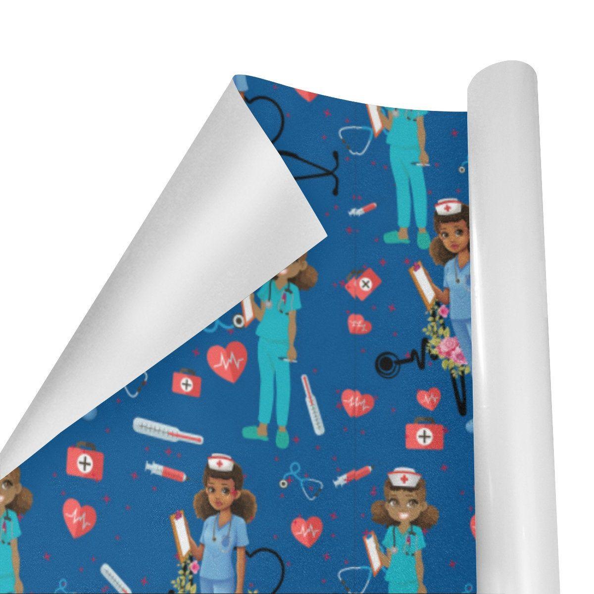 African American Nurse Gift Wrap,Black Girl Gift Wrap