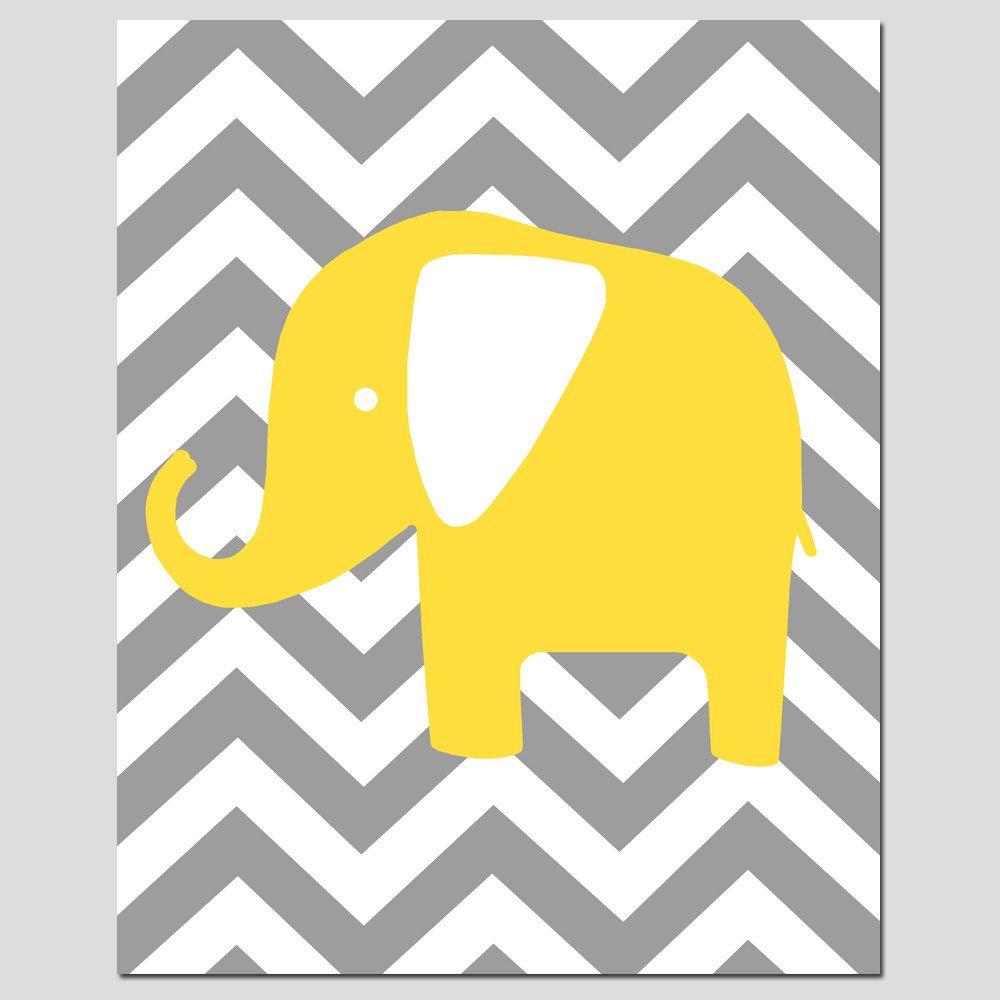 Nursery Wall Art - Modern Chevron Elephant Silhouette Print $20.00 ...