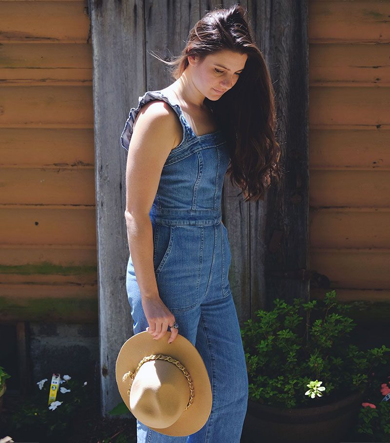 7b8c3bc5c86c Madewell Denim Ruffle-Strap Jumpsuit Outfit. Simple and comfortable ...